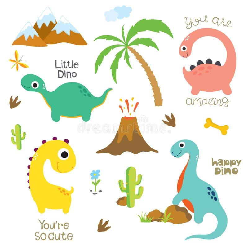 恐龙脚印、火山,棕榈树、石头、骨头和仙人掌 向量例证