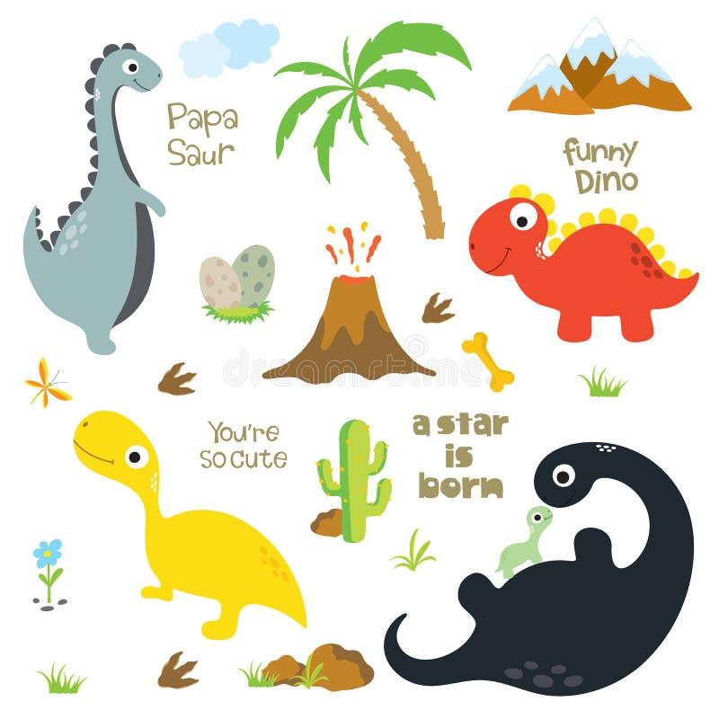 恐龙脚印、火山,棕榈树、石头、骨头和仙人掌 皇族释放例证