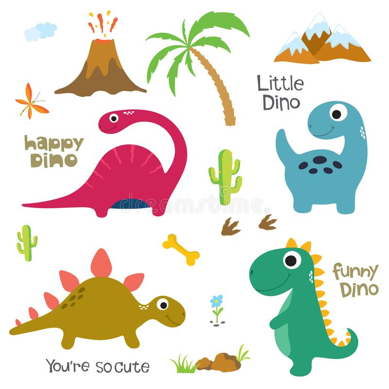 恐龙脚印,火山,棕榈树和其他设计元素 向量例证