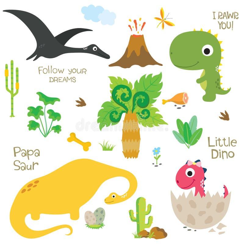恐龙脚印,火山,棕榈树和其他设计元素 库存例证