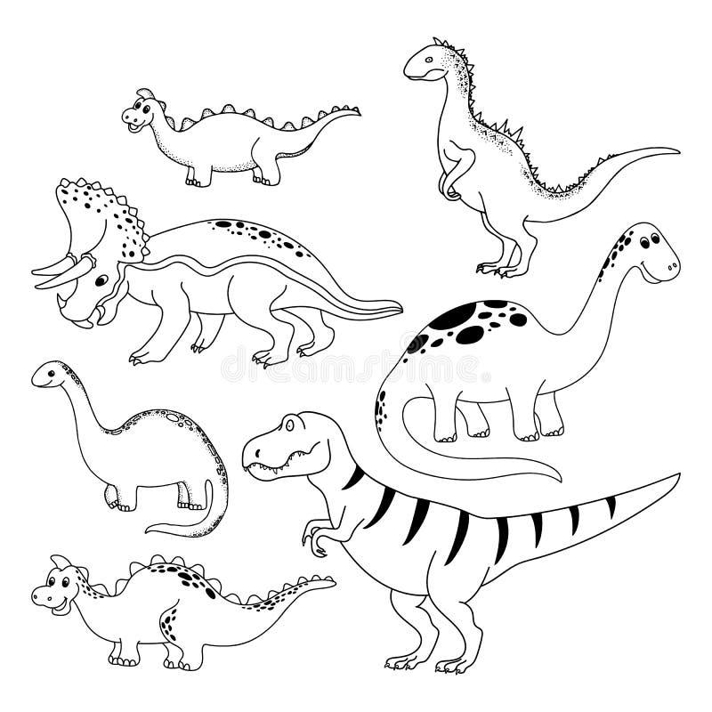 恐龙集合 动画片迪诺 向量例证
