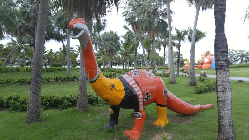 恐龙雕象 库存照片