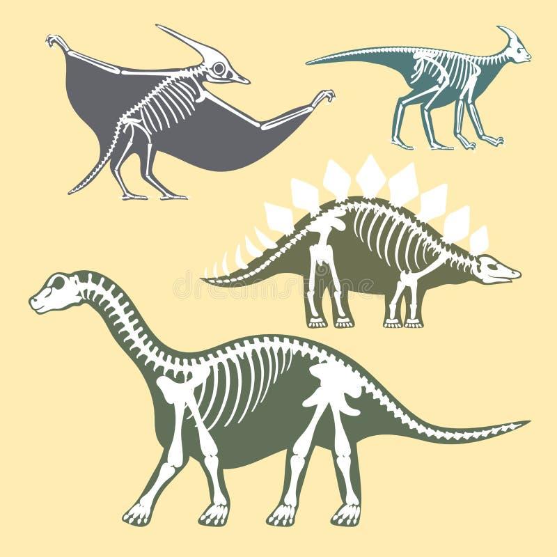 恐龙骨骼剪影设置了化石骨头暴龙史前动物迪诺骨头传染媒介平的例证 向量例证