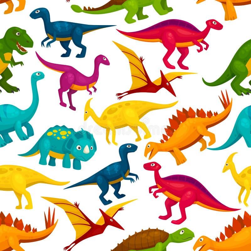 恐龙,侏罗纪动物妖怪无缝的样式 库存例证