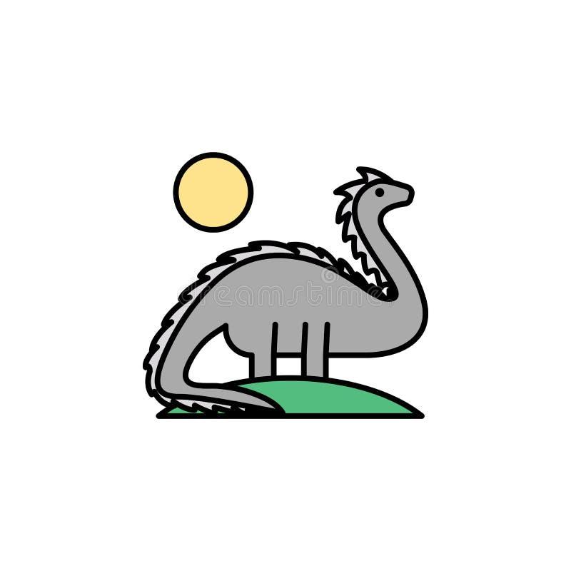 恐龙,绝种,狂放的生活,动物,太阳象 历史流动概念和网应用程序的颜色象的元素 颜色恐龙, 向量例证