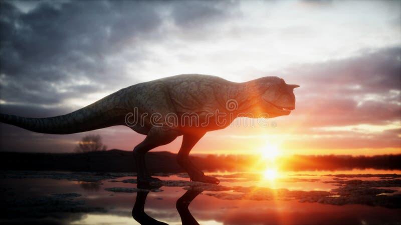 恐龙 史前期间,岩石风景 Wonderfull日出 3d翻译 皇族释放例证