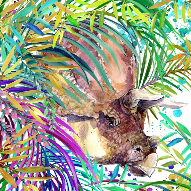 恐龙水彩 恐龙,热带异乎寻常的森林背景例证恐龙 向量例证