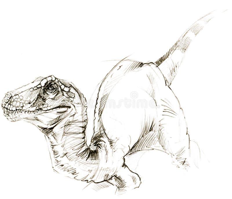 恐龙 恐龙图画铅笔剪影 库存例证