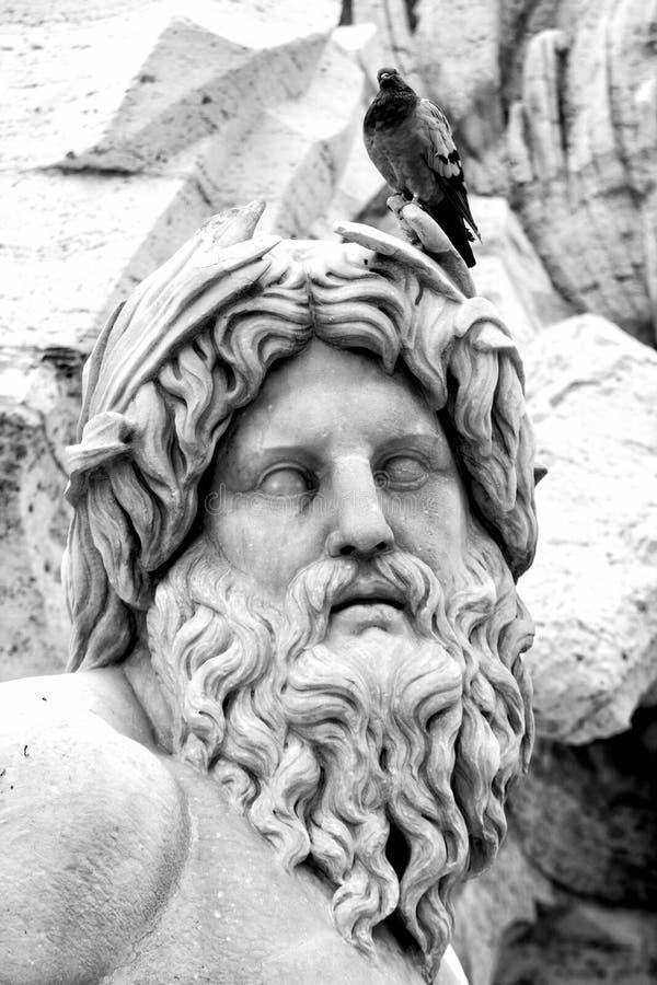 恒河雕象,纳沃纳广场(罗马,意大利) 库存照片