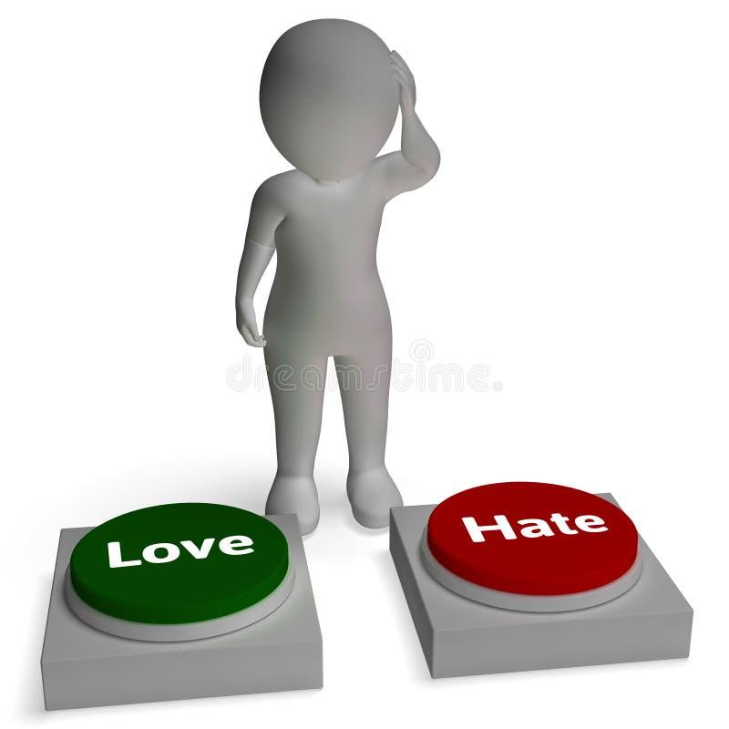 恨爱与恨交织的按钮的展示爱和 皇族释放例证