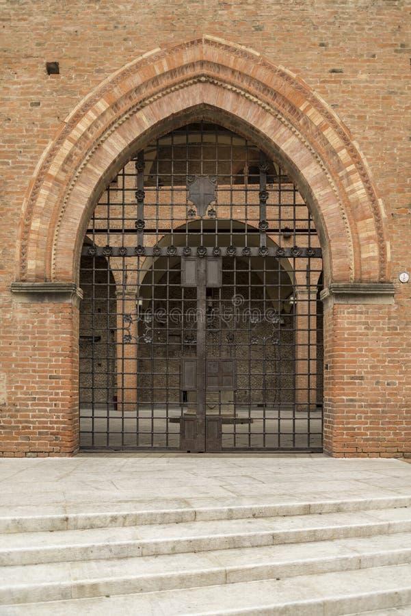 恩佐国王宫殿在马吉欧雷广场,波隆纳,意大利 免版税库存图片
