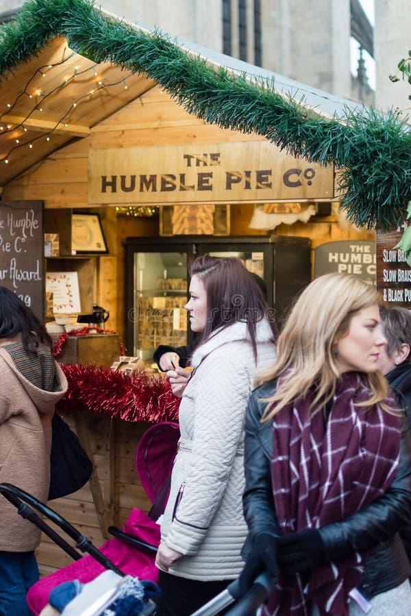 巴恩圣诞节市场-谦逊的饼Co摊位 免版税库存照片
