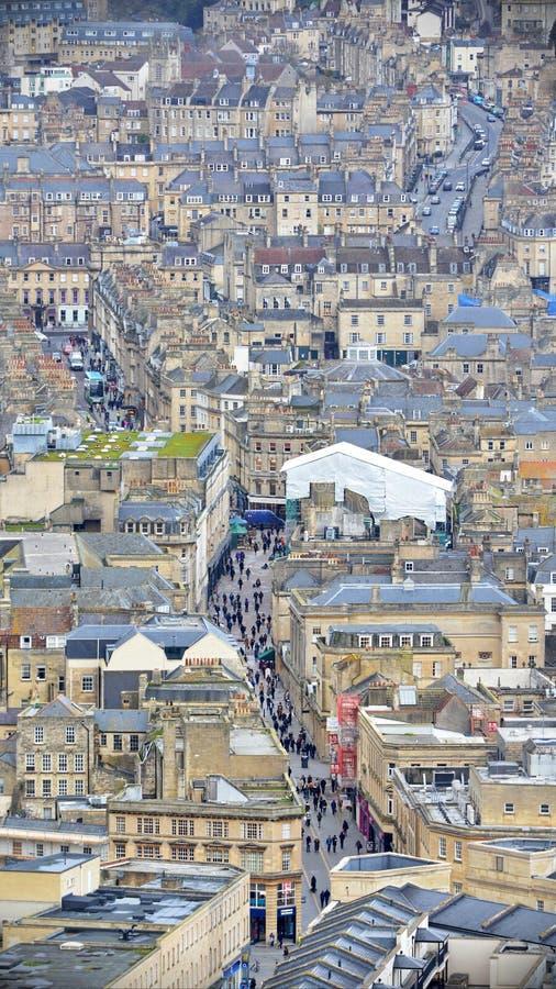 巴恩城市的鸟瞰图在萨默塞特英国 图库摄影