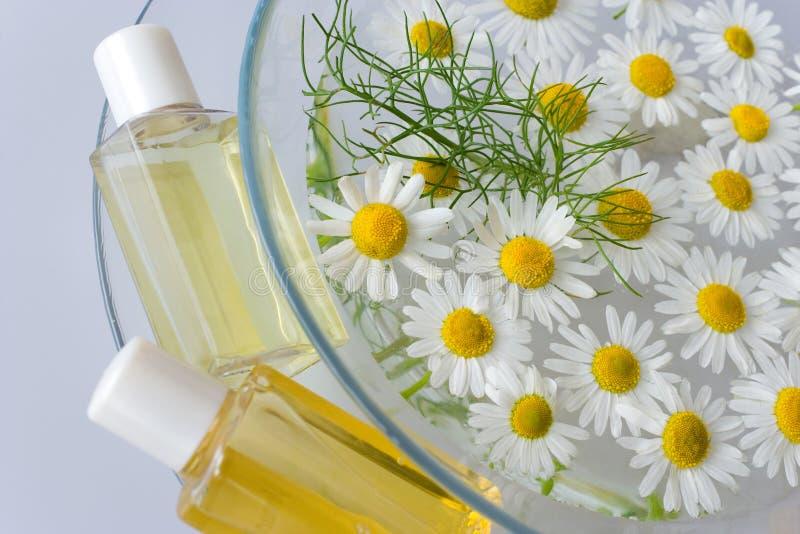巴恩-芳香疗法-草本医治用的化妆水-春黄菊 库存照片