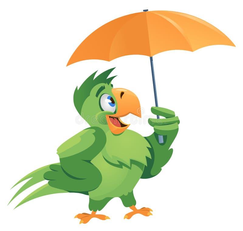恶劣天气 与伞的滑稽的鹦鹉 库存图片