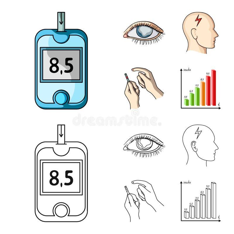恶劣的视觉,头疼,葡萄糖测试,胰岛素依赖性 在动画片,概述样式传染媒介的糖尿病患者集合汇集象 库存例证