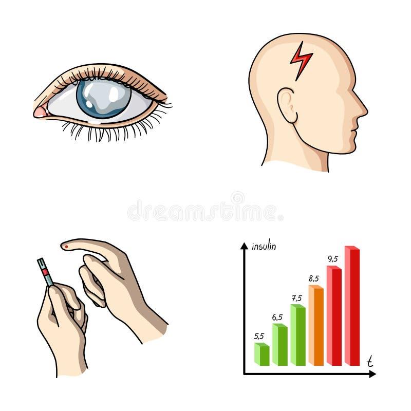 恶劣的视觉,头疼,葡萄糖测试,胰岛素依赖性 在动画片样式的糖尿病患者集合汇集象导航标志 向量例证