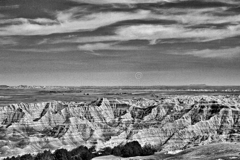 恶地国家公园,黑白的南达科他- 库存照片