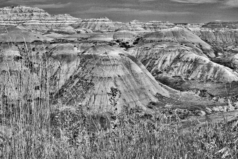 恶地国家公园,黑白的南达科他- 免版税图库摄影