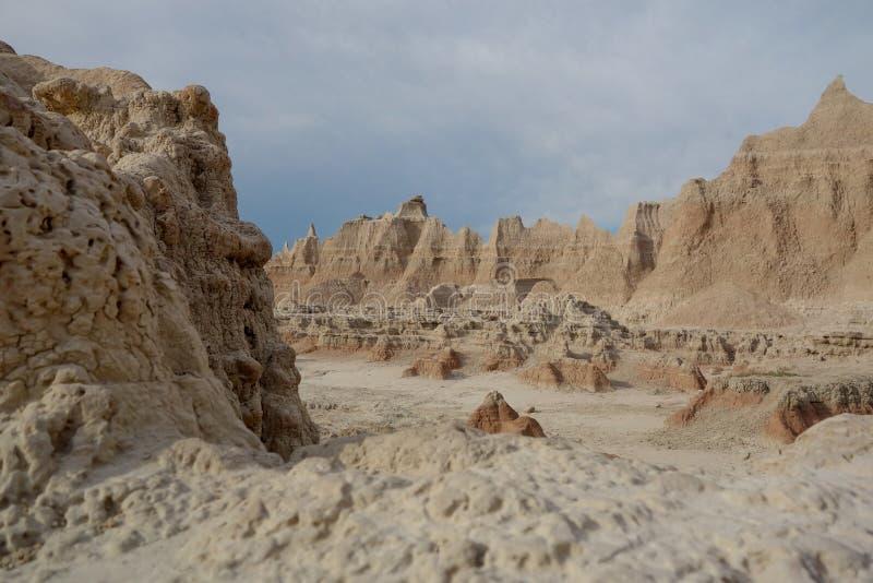恶地国家公园moonscape,南达科他。 库存照片