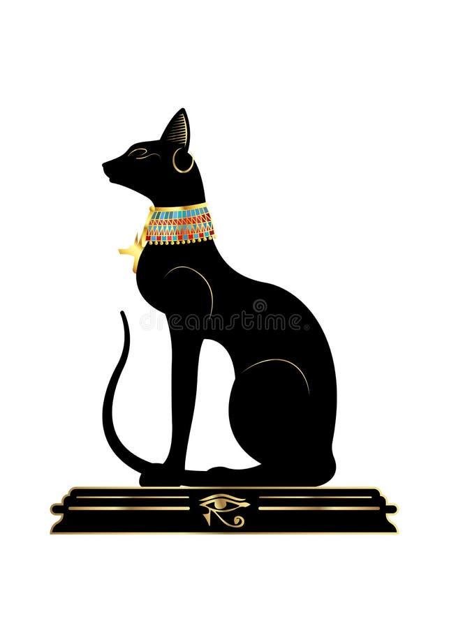 恶意嘘声埃及人 Bastet,古埃及女神,与暴君的金首饰,传染媒介例证的雕象外形隔绝了 皇族释放例证
