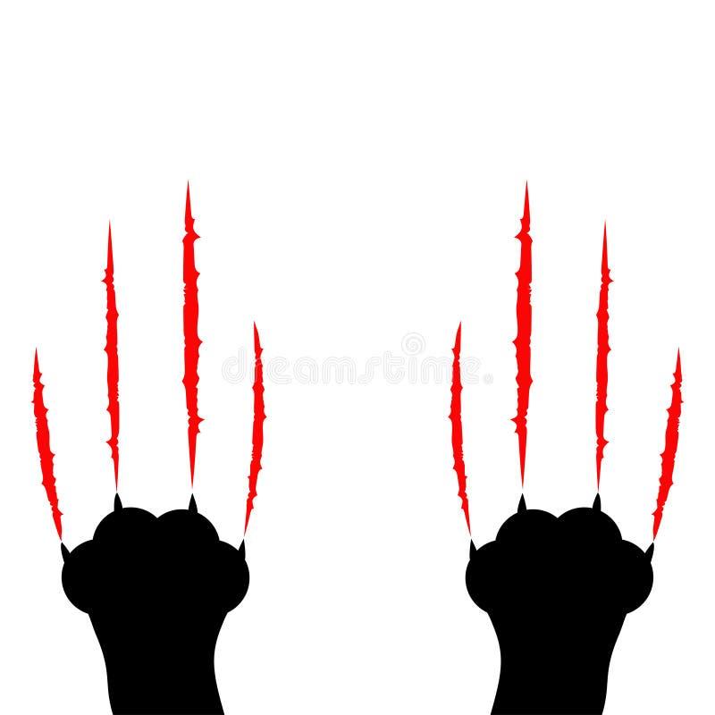 恶意嘘声抓 两个爪子印刷品腿脚 血淋淋的爪动物红色抓痕刮轨道 逗人喜爱的漫画人物身体局部silho 皇族释放例证