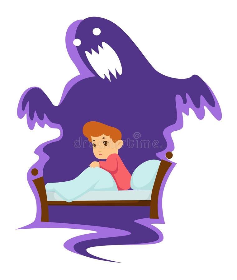 恶梦幼稚恐惧孩子在床和妖怪被隔绝的字符上 库存例证