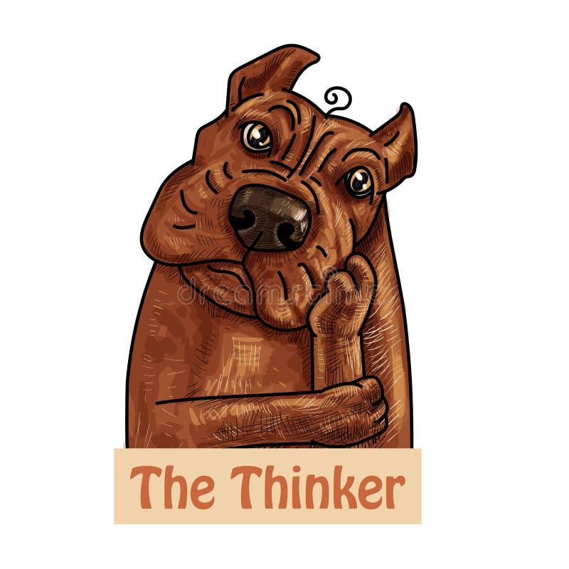 恶霸狗布朗画象在想法的姿势的 库存例证