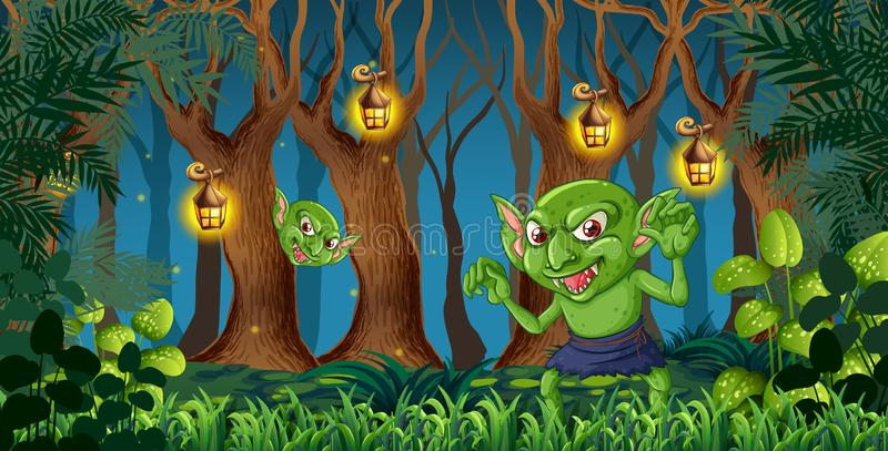 恶鬼在黑暗的森林里 皇族释放例证
