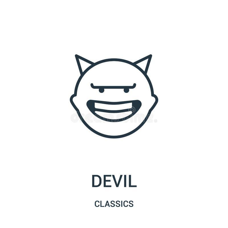 恶魔从经典之作汇集的象传染媒介 稀薄的线恶魔概述象传染媒介例证 线性标志 向量例证