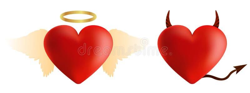 恶魔和天使心脏 库存例证