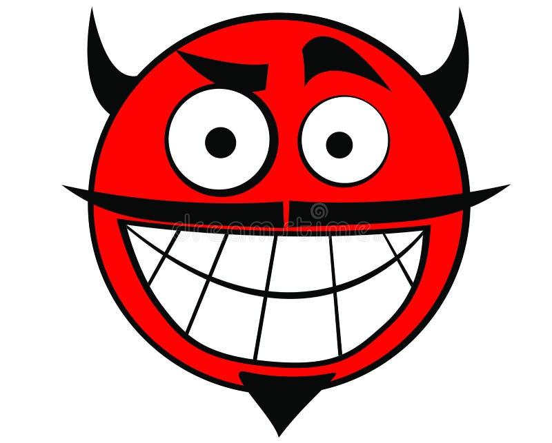 恶魔图标面带笑容 向量例证