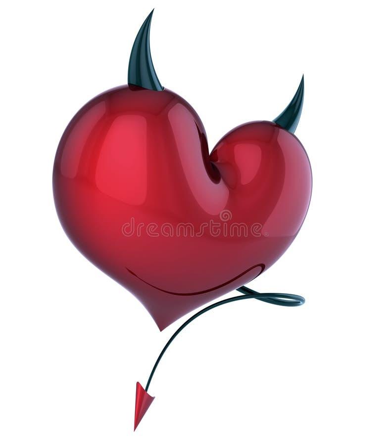 恶魔心脏邪恶的爱摘要邪魔恋人概念红色 库存例证