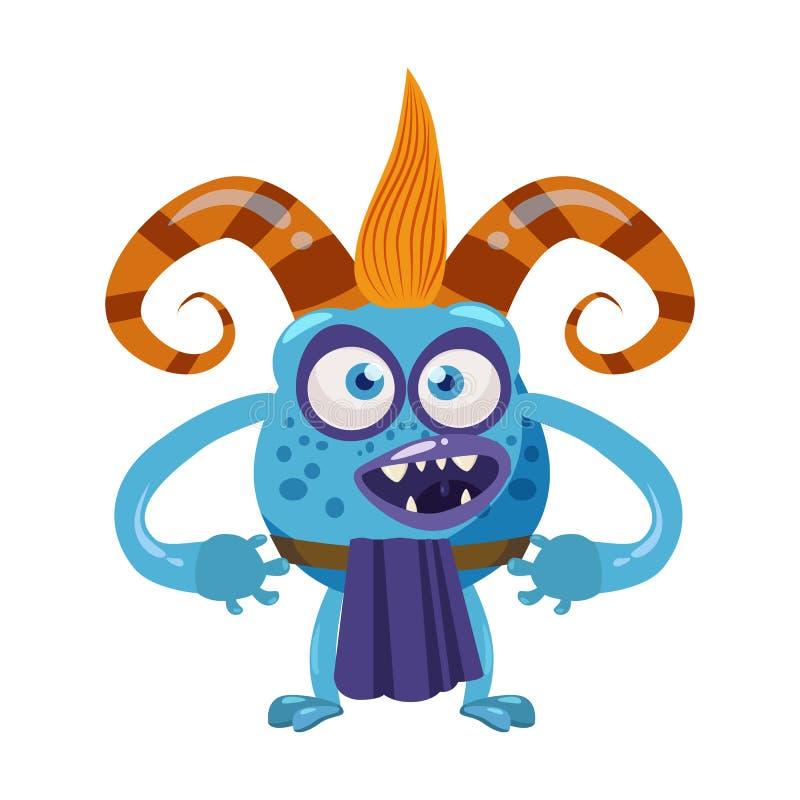 恶魔拖钓逗人喜爱的滑稽的童话字符,情感,动画片样式,书的,广告,贴纸,传染媒介 库存例证