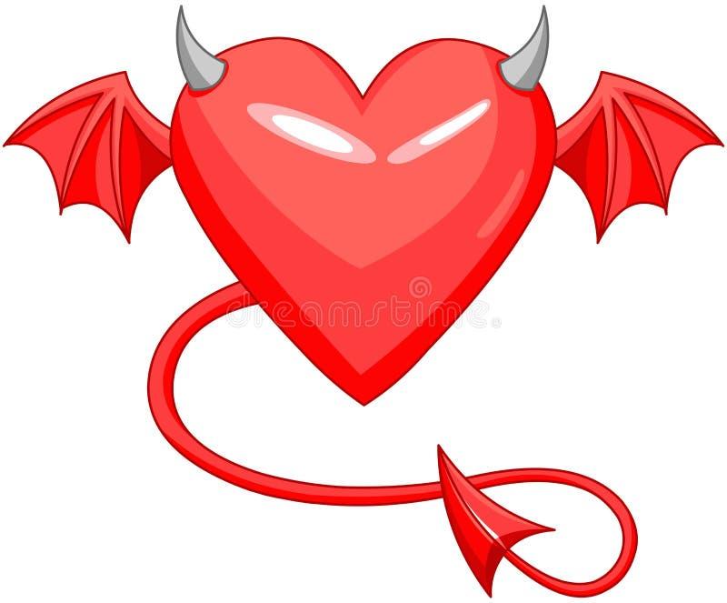 恶魔爱有角的心脏 向量例证
