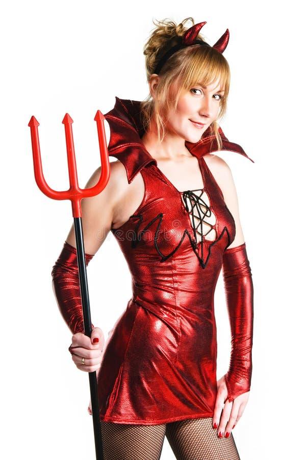 恶魔红色妇女 库存图片