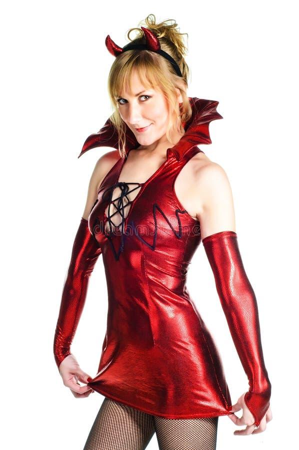 恶魔红色妇女 图库摄影