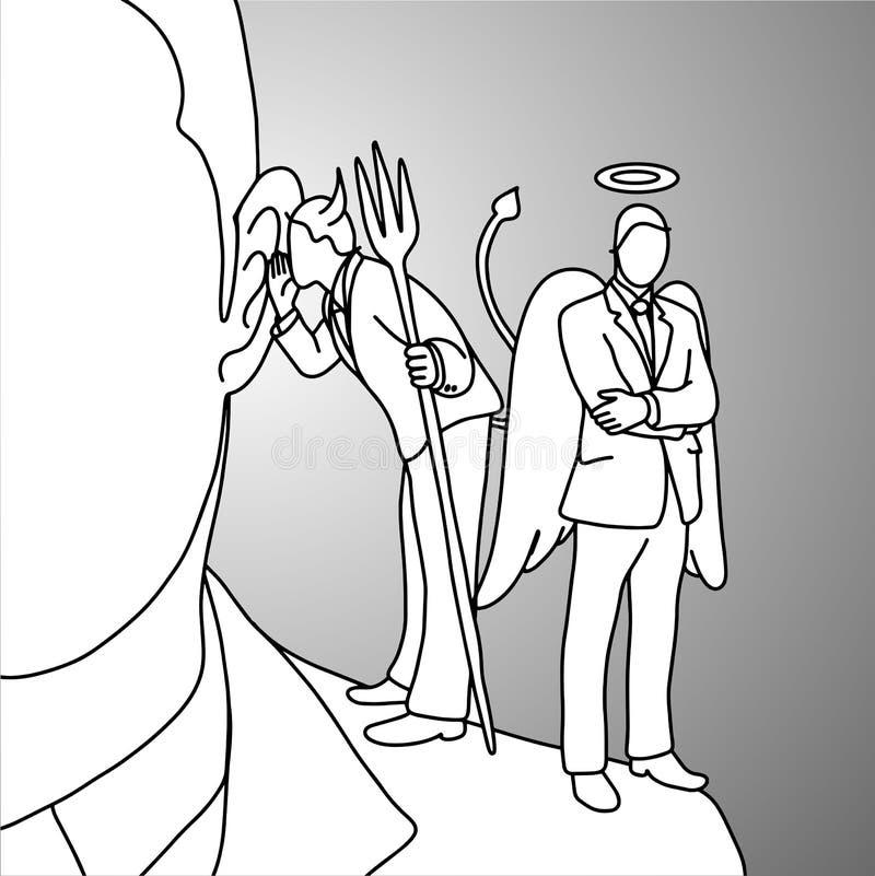 恶魔耳语在商人肩膀传染媒介illus的耳朵