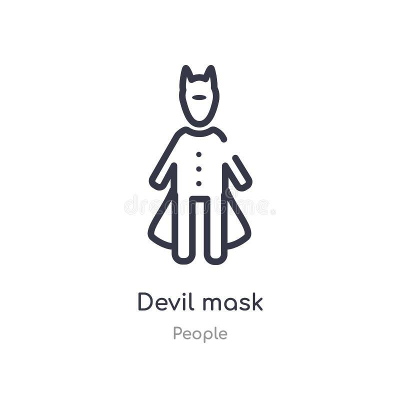 恶魔面具概述象 r 在白色的编辑可能的稀薄的冲程恶魔面具象 皇族释放例证