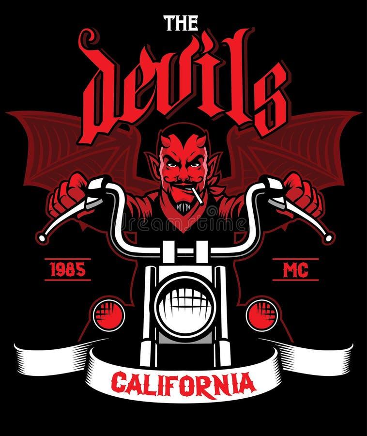 恶魔骑摩托车 向量例证