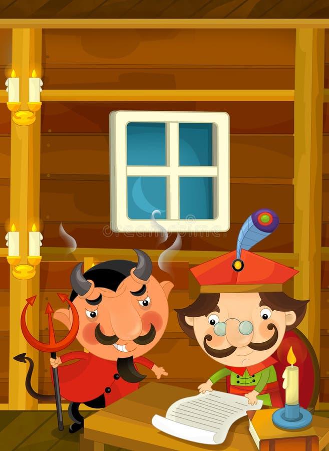 Download 恶魔令人鼓舞贵族动画片场面签署一些纸的 库存例证. 插画 包括有 魔术师, 童话, 五颜六色, 读取, 滑稽 - 72355194