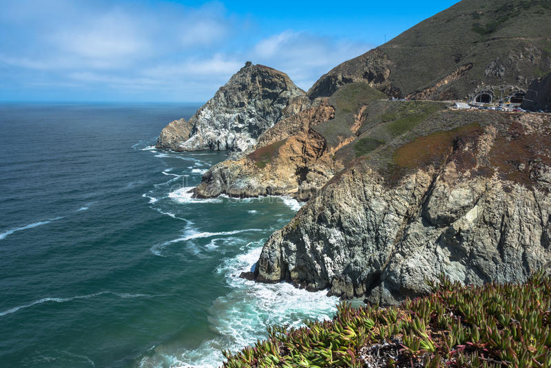恶魔幻灯片海岸,加利福尼亚 免版税库存照片