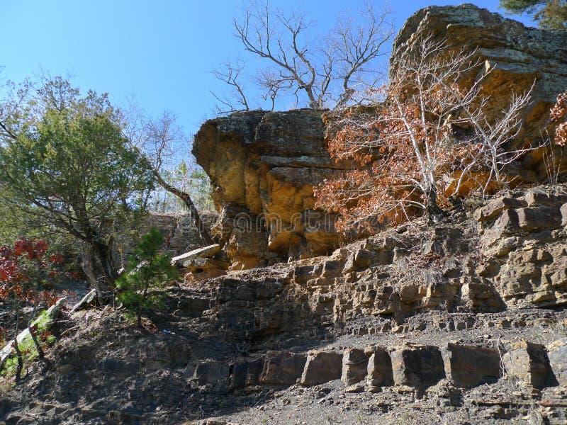 恶魔` s小室国家公园,阿肯色岩石和树 库存照片