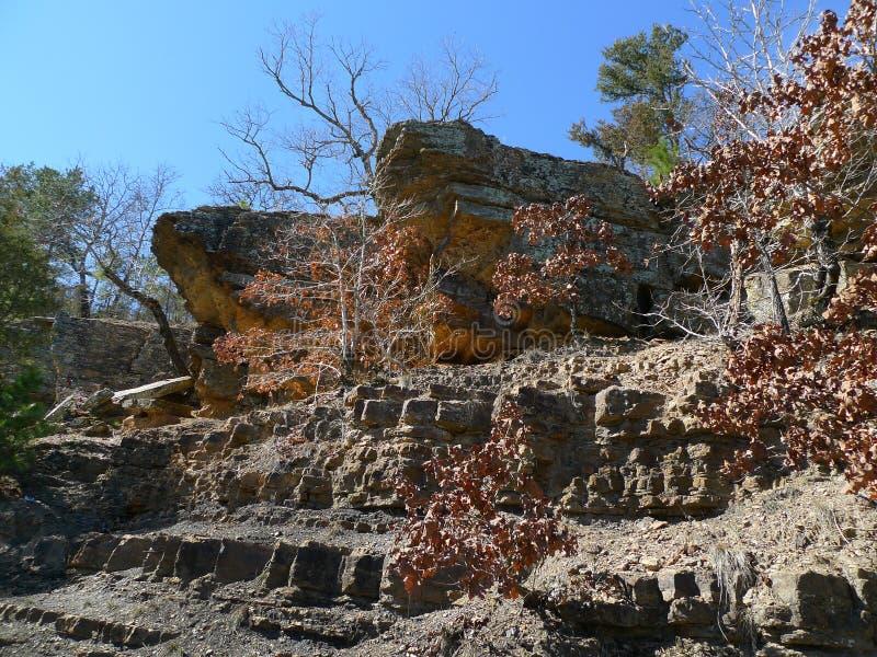 恶魔` s小室国家公园,阿肯色岩石和树 免版税库存图片