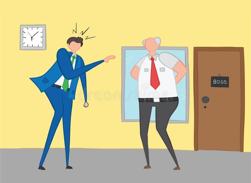 恼怒和呼喊在他的上司,手拉的传染媒介例证的商人 向量例证