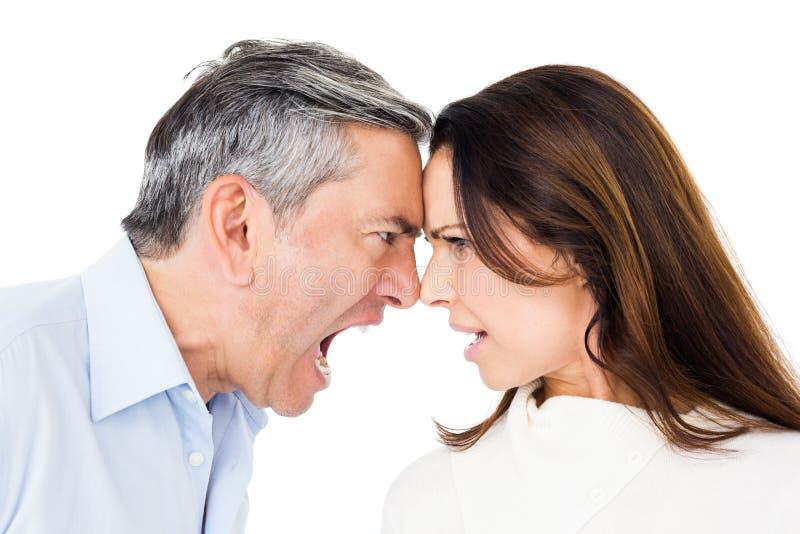 恼怒夫妇争论 免版税库存图片