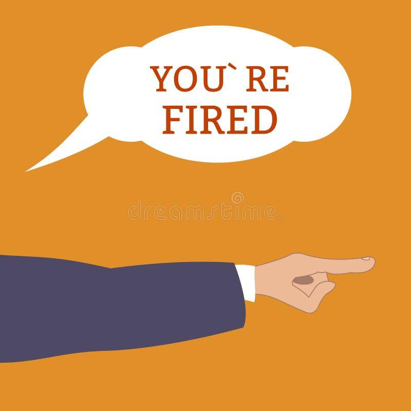 恼怒的上司呼喊:您被解雇,并且点在雇员用手离开射击 遣散从他的工作 平的样式,传染媒介 库存例证