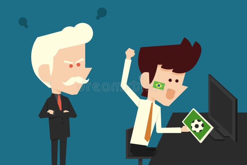 恼怒的上司和蠢材的商人 向量例证