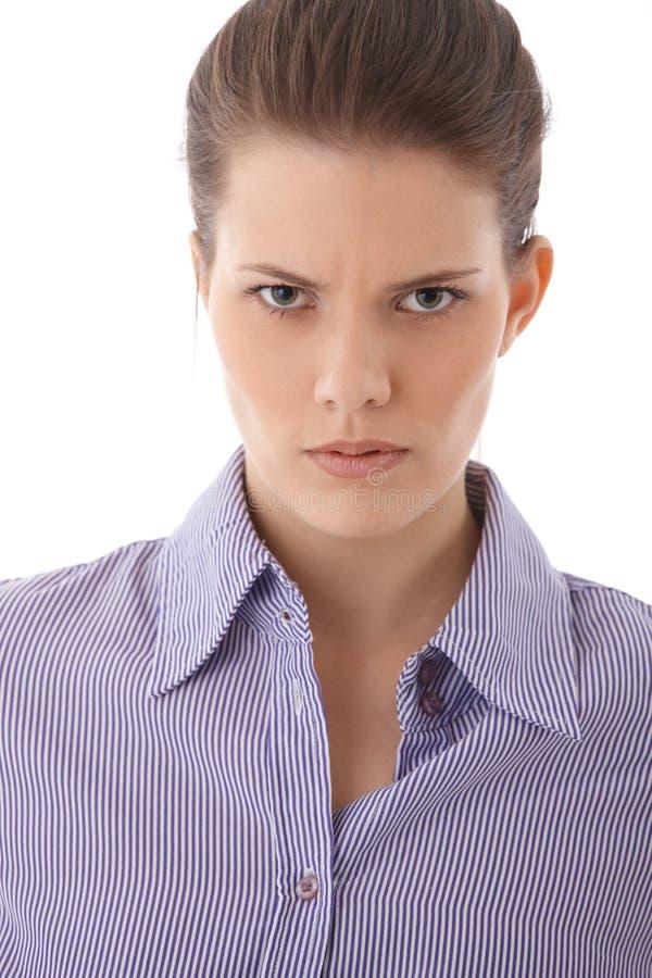 恼怒的严格的妇女纵向 免版税库存图片