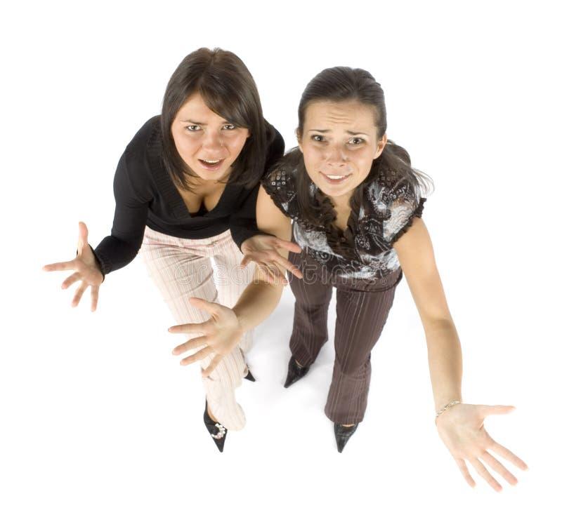 恼怒的二名妇女 免版税库存照片